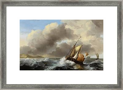 Fishing Vessels Offshore In A Heavy Sea Framed Print by Ludolf Backhuysen