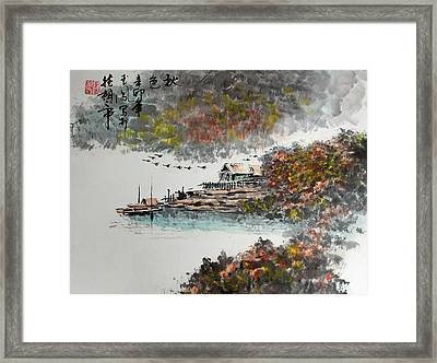 Fishing Village In Autumn Framed Print