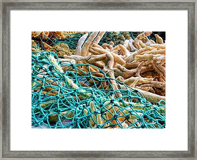 Framed Print featuring the photograph Fishing Village Ware by Pamela Blizzard