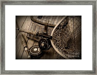 Fishing - Vintage Fishing  Black And White Framed Print