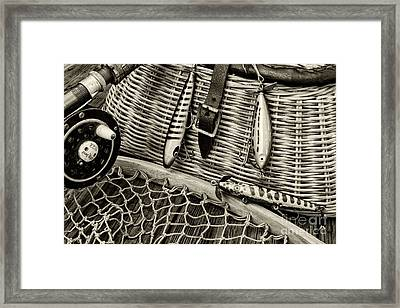 Fishing - Vintage Fishing Lures In Black And White Framed Print