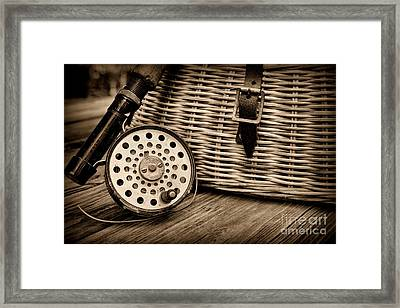 Fishing - Vintage Fly Fishing - Black And White Framed Print