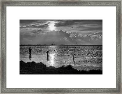Fishing With Dad - Black And White - Merritt Island Framed Print by Nikolyn McDonald