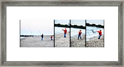 Fishing With Dad - Catch And Release Framed Print by Bill Cannon