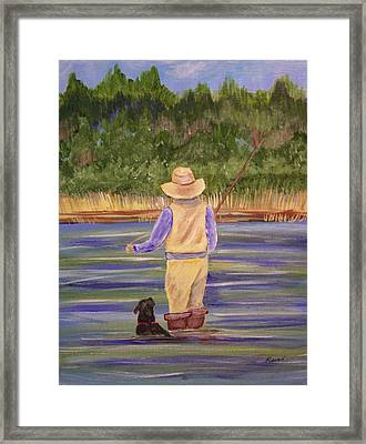 Fishing With Dog Framed Print by Belinda Lawson