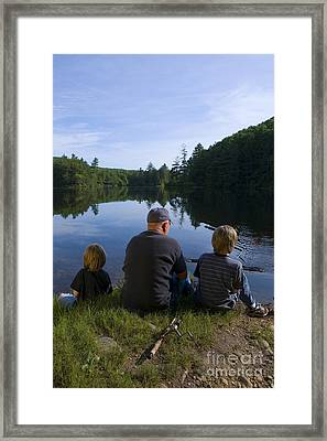 Fishing With Grandad Framed Print by Diane Diederich