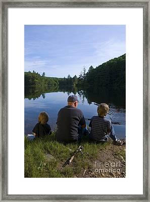 Fishing With Grandad Framed Print