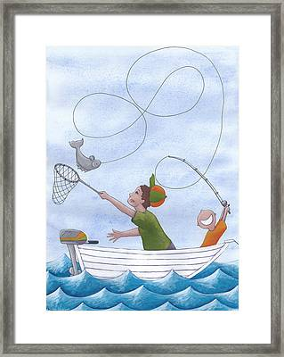 Fishing With Grandpa Framed Print by Christy Beckwith