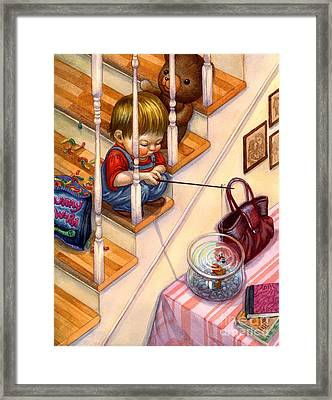 Fishing With Gummies Framed Print by Isabella Kung