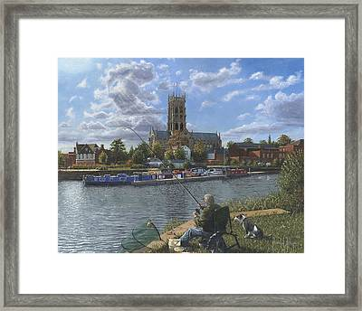 Fishing With Oscar - Doncaster Minster Framed Print by Richard Harpum