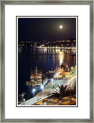 fishing boats under the august moonlight of Port Mahon in Menorca Island Framed Print by Pedro Cardona