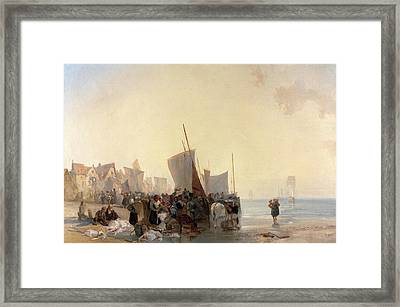 Fishmarket A Fish Market Near Boulogne Fish-market Framed Print by Litz Collection