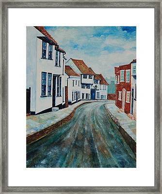 Framed Print featuring the painting Fishpool Street - St Albans - Winter Scene by Giovanni Caputo
