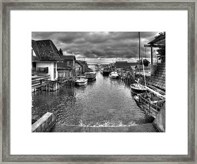 Fishtown In Lelans Black And White Framed Print
