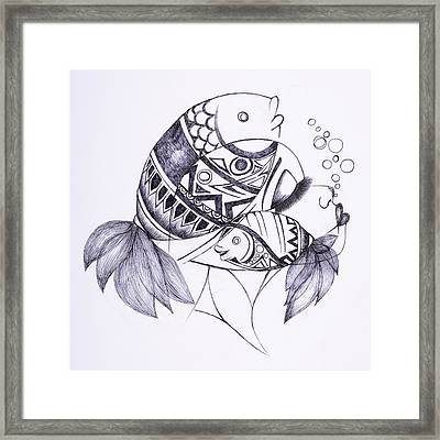 Fishy Framed Print by Chibuzor Ejims