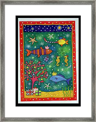 Fishy Christmas, 1997 Wc And Pastel On Paper Framed Print