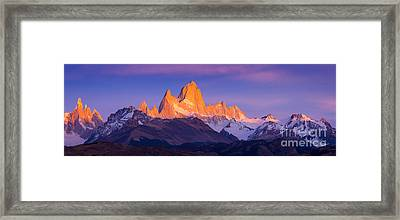 Fitz Roy Dawn Panorama Framed Print by Inge Johnsson