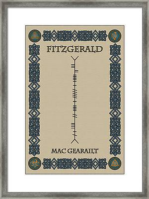 Fitzgerald Written In Ogham Framed Print by Ireland Calling