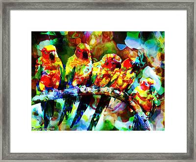 Five Artist Parrots. 2013 80/60 Cm.  Framed Print by Tautvydas Davainis