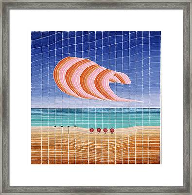 Five Beach Umbrellas Framed Print