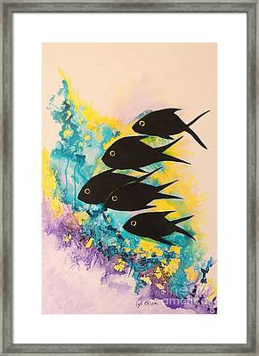Framed Print featuring the painting Five Black Fish by Lyn Olsen