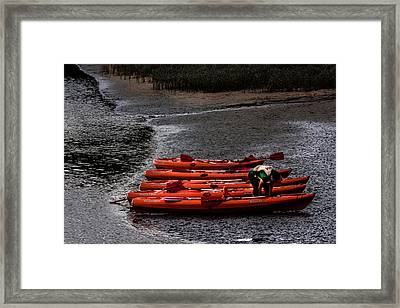 Framed Print featuring the photograph Five Boats by Edgar Laureano