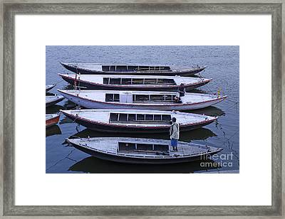 Five Boats On The Ganges Framed Print by Robert Preston