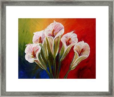 Five Cala Lillies Print Framed Print
