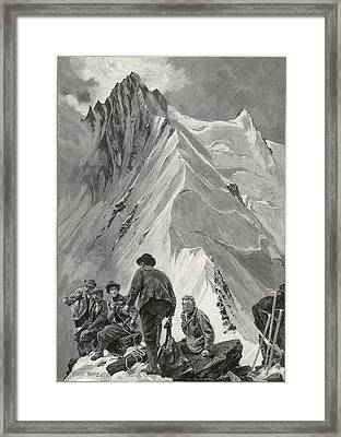 Five Climbers Contemplate The  Daunting Framed Print by Mary Evans Picture Library