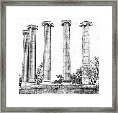 Five Columns Sketchy Framed Print by Debbie Portwood