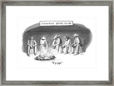 Five Cowboys Sit Around A Campfire. Each Cowboy Framed Print by Julia Suits