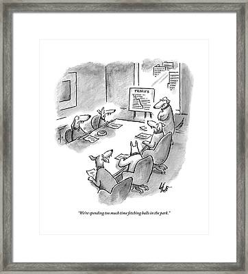 Five Dogs Sit Around An Office Meeting Table Framed Print