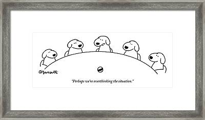 Five Dogs Sitting Around A Roundtable Framed Print by Charles Barsotti
