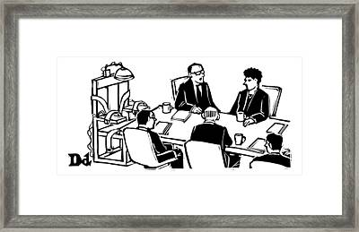 Five Executives Sit Around A Conference Table Framed Print by Drew Dernavich