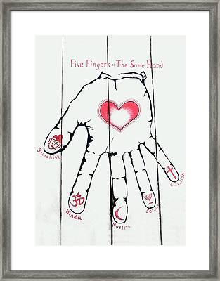 Five Fingers Framed Print