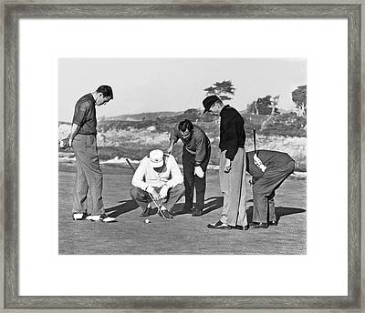 Five Golfers Looking At A Ball Framed Print
