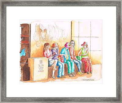 Five Ladies Talking About Art At The Getty Center Museum Los Angeles - California Framed Print by Carlos G Groppa