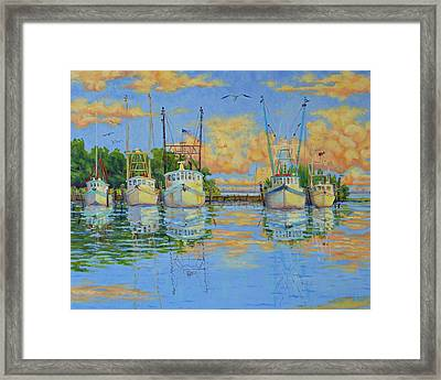 Five Low Country Boats Framed Print