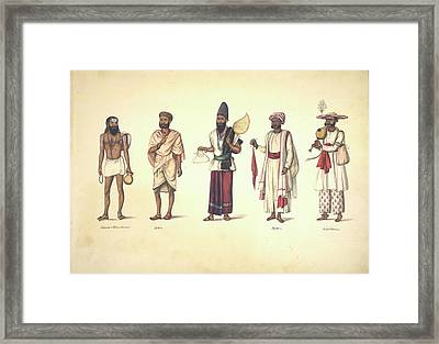 Five Male Types Standing In A Line Framed Print by British Library