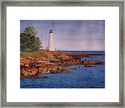 Five Mile Point Lighthouse Framed Print by Sharon Farber