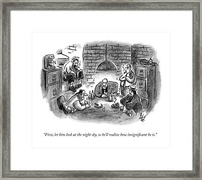 Five Mobsters Meet In A Dim Basement Framed Print by Frank Cotham