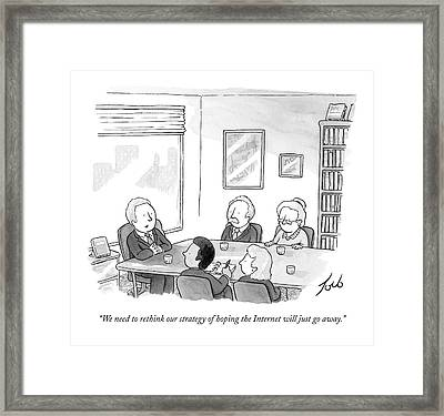 Five People Sit Around A Conference Table Framed Print by Tom Toro