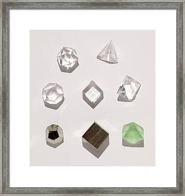 Five Platonic Solids With 3 Natural Forms Framed Print