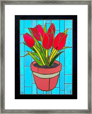 Five Red Tulips Framed Print
