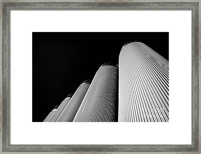 Five Silos In Black And White Framed Print