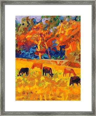 Five Texas Cows At Sunset Oil Painting By Bertram Poole Framed Print by Thomas Bertram POOLE