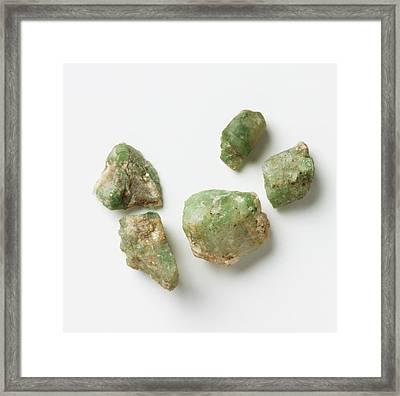 Five Unpolished Emerald Rocks Framed Print by Dorling Kindersley/uig
