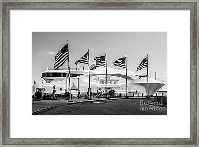 Five Us Flags Flying Proudly In Front Of The Megayacht Seafair - Miami - Florida - Black And White Framed Print