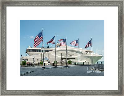 Five Us Flags Flying Proudly In Front Of The Megayacht Seafair - Miami - Florida Framed Print