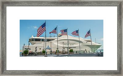 Five Us Flags Flying Proudly In Front Of The Megayacht Seafair - Miami - Florida - Panoramic Framed Print